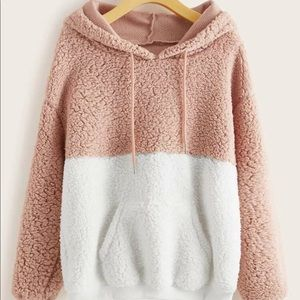 Two tone kangoroo pocket teddy hoodie